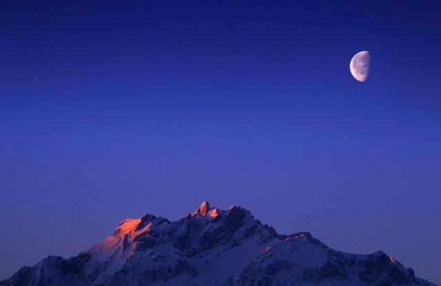 Alpenglühen am Pilatus bei Luzern mit Nikon F4