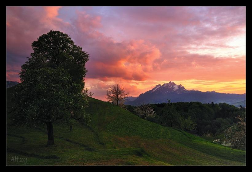 Abendstimmung mit Blick auf den Pilatus bei Weggis am Vierwaldstätter See