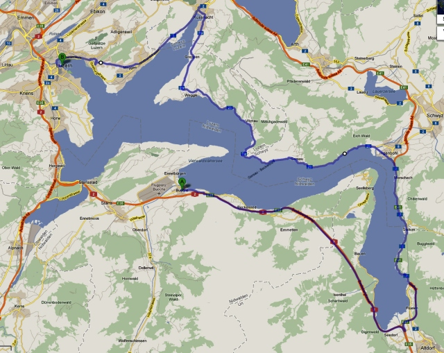 Unsere Routenplanung - Buochs nach Luzern