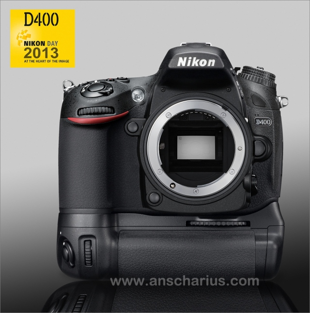 Nikon D400 with MB-D14 - front - rgb