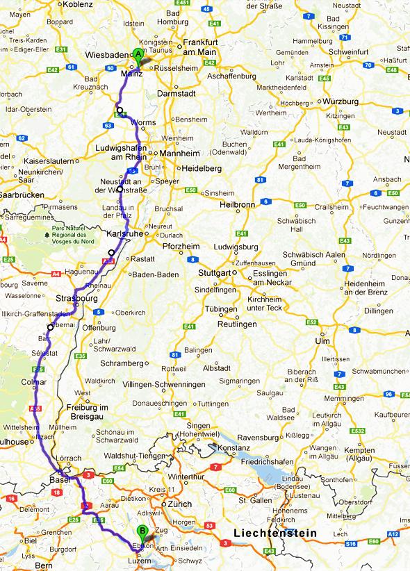 Reiseroute von Mainz nach Luzern