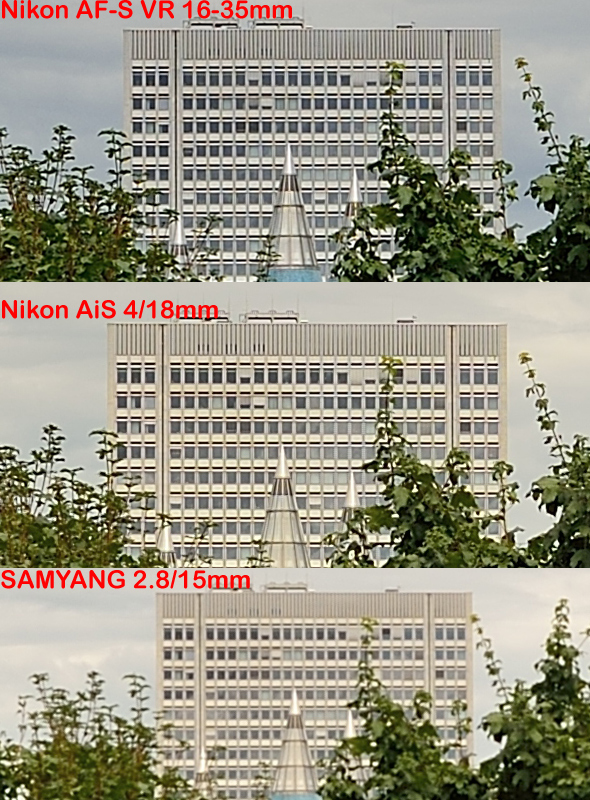 Nikon D800E - Wideangle Comparison - Weiwinkel Vergleich - Center Sharpness