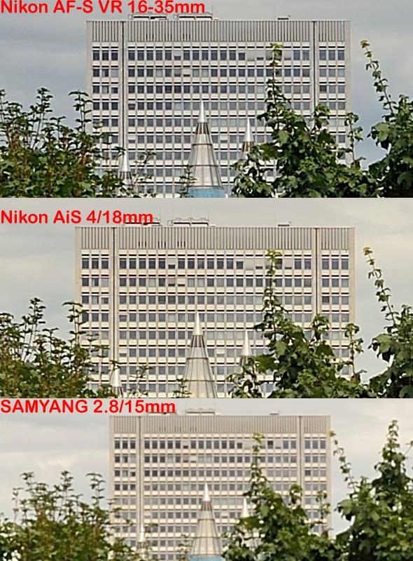 Nikon D800E - Wideangle Comparison - Weiwinkel Vergleich - Center Sharpness