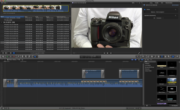 Videoschnitt mit Apple Final-Cut-Pro-X