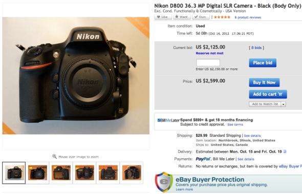 Nikon D800 bei ebay.com