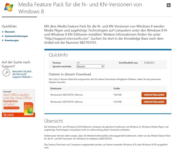 Media Feature Pack für die N- und KN-Versionen - Download