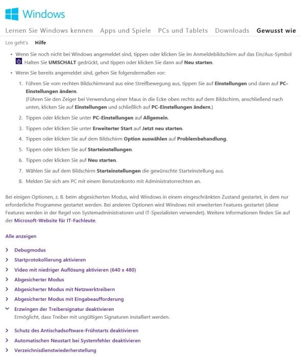Windows-8.1-Unsignierte-Treiber-Installieren