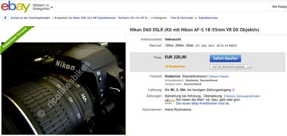 Nikon D60 - ebay Auktion