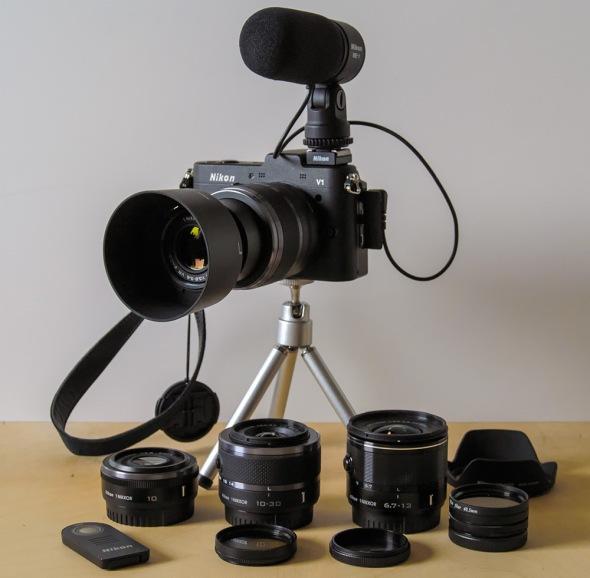 Nikon 1 V1 - ME-1 - Tripod - Lenses - Filters