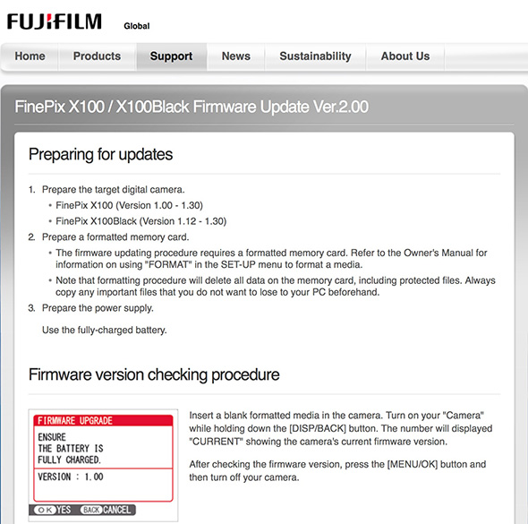 Fuji-X100-Firmware-Update-Version-2