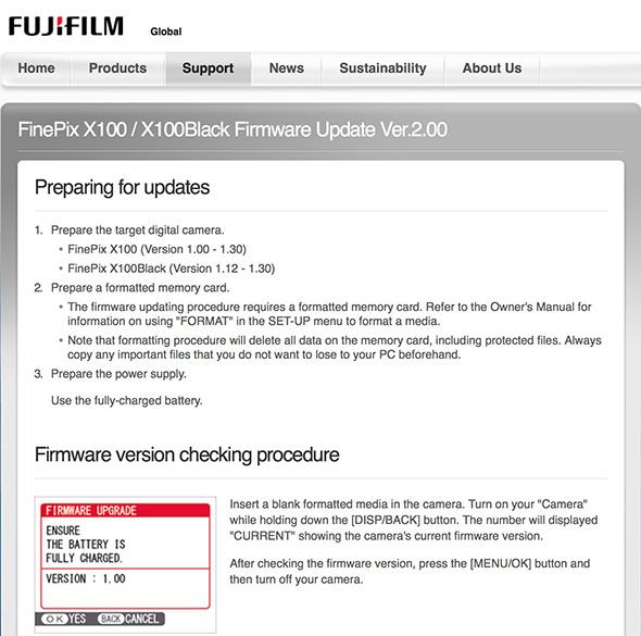 Fuji-X100-Firmware-Update-Version-2