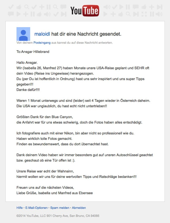 Feedback zum YouTube Video